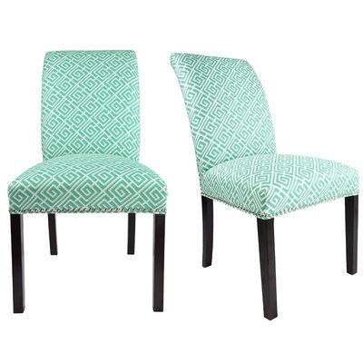 Francesca Curve Back Upholstered Parsons Chair Upholstery: Teal/Gray