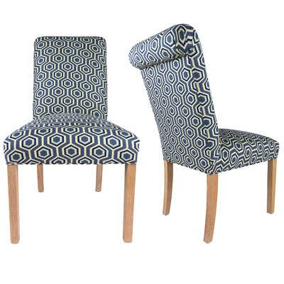 SL3007 Upholstered Parsons Chair Finish: Washed Natural, Upholstery: Blue/Cream