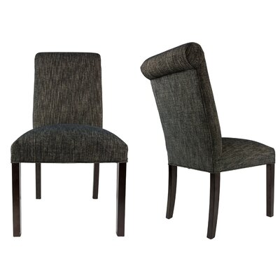 SL3007 Camelback Upholstered Parsons Chair Finish: Espresso, Upholstery: Black
