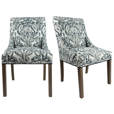 Marie Upholstered Side Chair Finish: Washed Walnut, Upholstery: Wedgewood