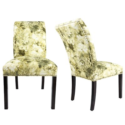 Francesca Curve Back Upholstered Parsons Chair Upholstery: White/Cream/Green