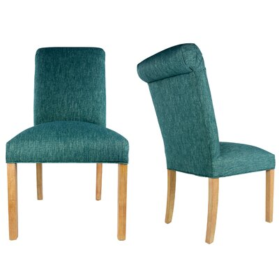 SL3007 Camelback Upholstered Parsons Chair Finish: Washed Walnut, Upholstery: Teal