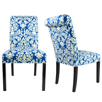 SL3007 Camelback Upholstered Parsons Chair Finish: Espresso, Upholstery: Cream/Blue