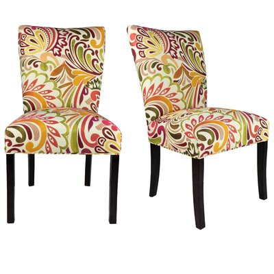 Knowlson Upholstered Parsons Chair Finish: Espresso, Upholstery: Multi-Colored