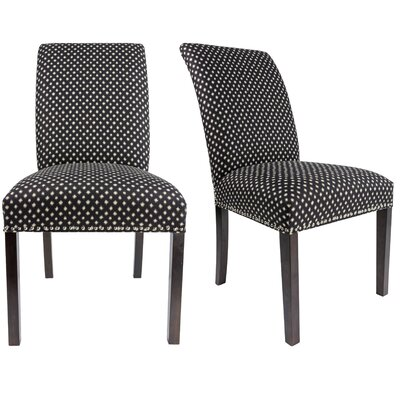 Francesca Curve Back Upholstered Parsons Chair Upholstery: Black