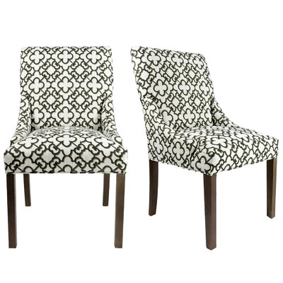 Maleah Upholstered Side Chair Finish: Washed Walnut, Upholstery: Beige/Black/Bronze