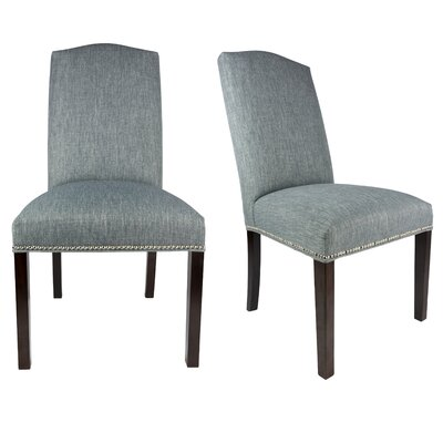 SL3004 Camelback Upholstered Parsons Chair Finish: Espresso, Upholstery: Ash Light Gray