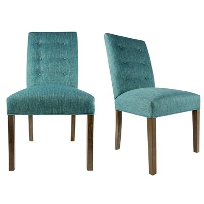 Kacey Straight Back Upholstered Parsons Chair Finish: Washed Walnut, Upholstery: Teal
