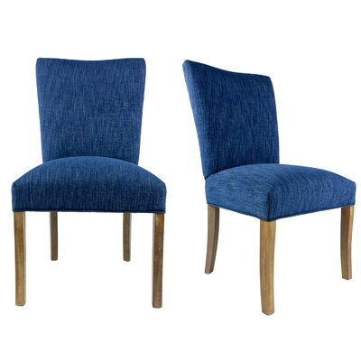 Knowlson Upholstered Parsons Chair in Denim Dark Blue Color: Washed Walnut