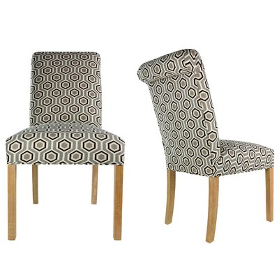 SL3007 Camelback Upholstered Parsons Chair Finish: Washed Natural, Upholstery: Silver Leaf Gray/Brown