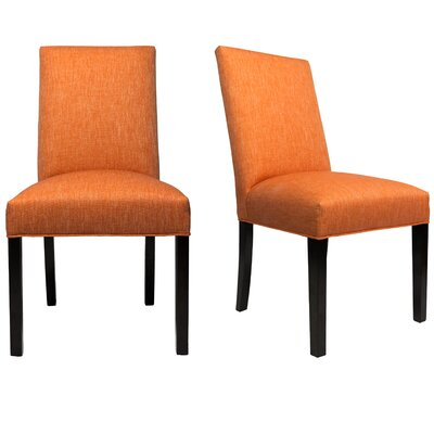 Parsons Chair Finish: Espresso, Upholstery: Terra Cotta