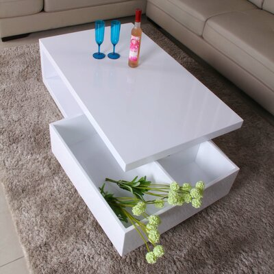 Glossy Functional Coffee Table with Storage Color: White / White