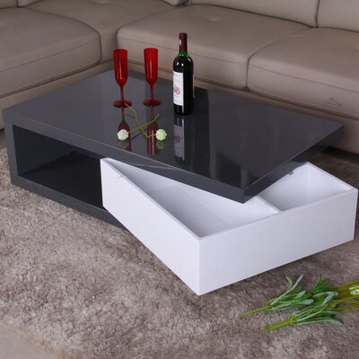 Glossy Functional Coffee Table with Storage Color: Light Gray / White