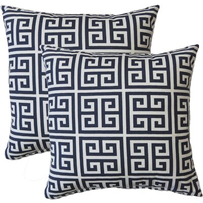 Premiere Home Greek Key Throw Pillow Color: Navy