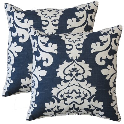 Premiere Home Damask Throw Pillow Color: Navy