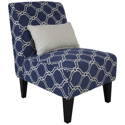 Langford Slipper Chair with Pillow Color: Mariner Blue