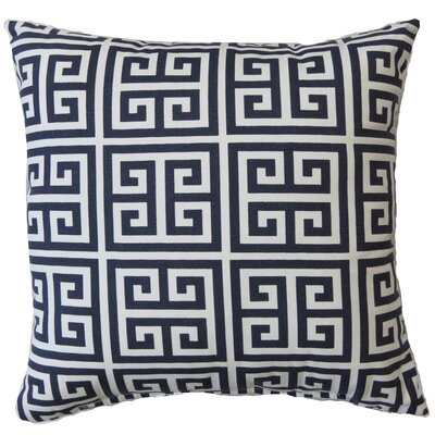 Greek Key Cotton Throw Pillow Color: Blue
