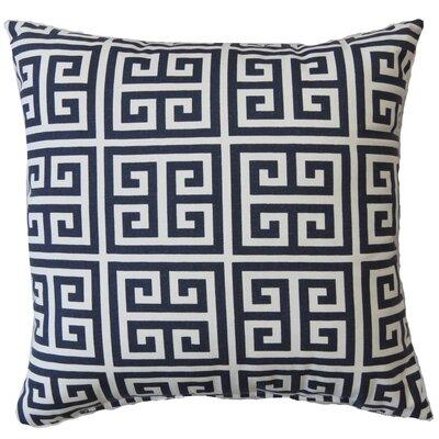 Greek Key Cotton Throw Pillow Color: Blue
