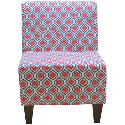 Penelope Armless Curt Medallion Slipper Chair Upholstery: Coral