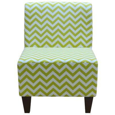Penelope Armless Chevron Canal Green Slipper Chair