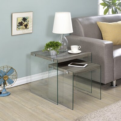 Millenial 2 Piece Nesting Tables Color: Gray