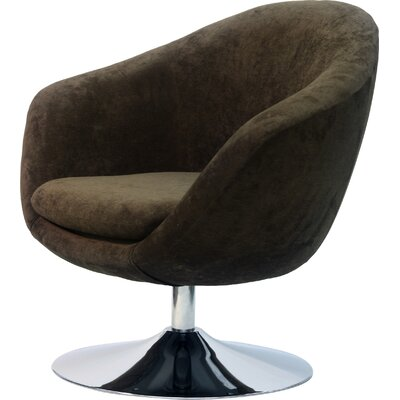 Overman Disc Base Comet Barrel Chair Upholstery: Brown