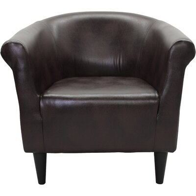 Adcock Barrel Chair Upholstery: Leatherette Brown