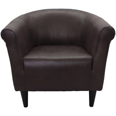 Adcock Barrel Chair Upholstery: Leatherette Dark Brown