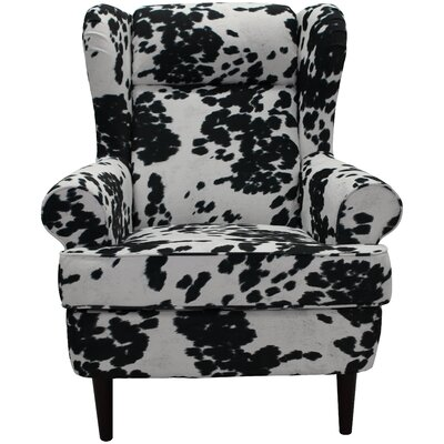 Wise Wingback Chair Upholstery: Cowhide Black