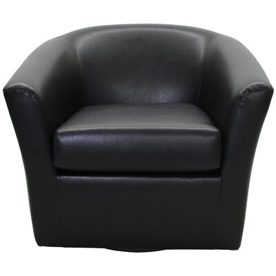 Agee Swivel Barrel Chair Upholstery: Leatherette Black
