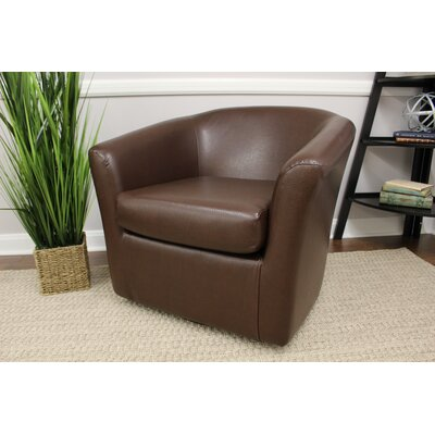 Agee Swivel Barrel Chair Upholstery: Leatherette Brown