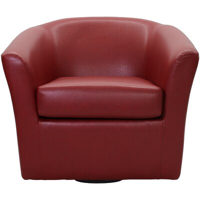 Agee Swivel Barrel Chair Upholstery: Leatherette Red