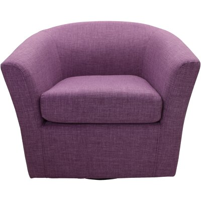 Burciaga Swivel Barrel Chair Upholstery: Purple