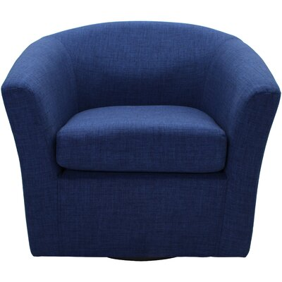 Burciaga Swivel Barrel Chair Upholstery: Indigo Blue