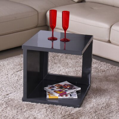 Glossy Functional Cube Coffee Table Color: Gray