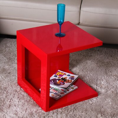 Glossy Functional Cube Coffee Table Color: Red