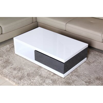 Glossy Functional Coffee Table with Storage Color: White / Dark Gray