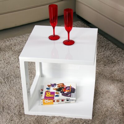 Glossy Functional Cube Coffee Table Color: White