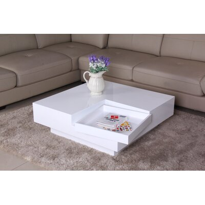 Glossy Functional Coffee Table with Accent Corner Color: White / White