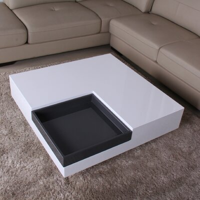 Glossy Functional Coffee Table with Accent Corner Color: White / Dark Gray