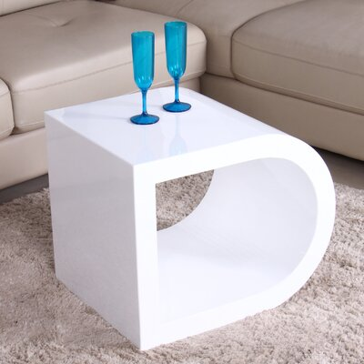 Glossy Functional Coffee Table Color: White