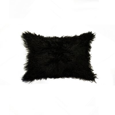 Siemering Mongolian Sheepskin Lumbar Pillow Color: Black