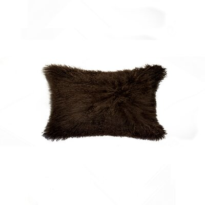 Natural Mongolian Sheepskin Lumbar Pillow Color: Chocolate