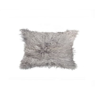 Natural Mongolian Sheepskin Lumbar Pillow Color: Gray