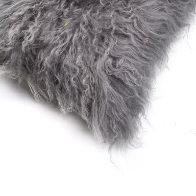Natural 100% Mongolian Sheepskin Lumbar Pillow Color: Gray