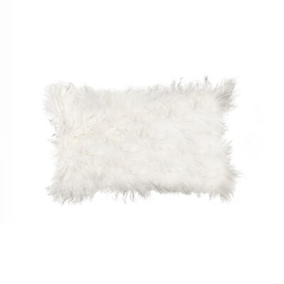 Siemering Mongolian Sheepskin Lumbar Pillow Color: White