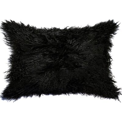 Natural 100% Mongolian Sheepskin Lumbar Pillow Color: Black