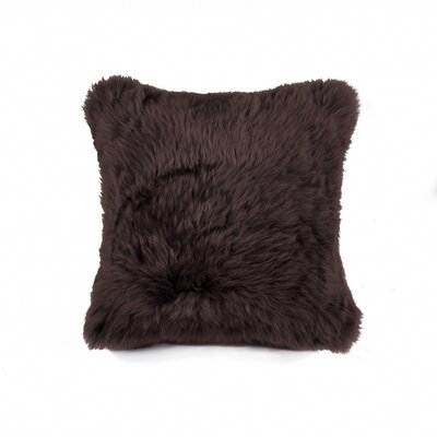 Siemering Sheepskin Throw Pillow Color: Chocolate