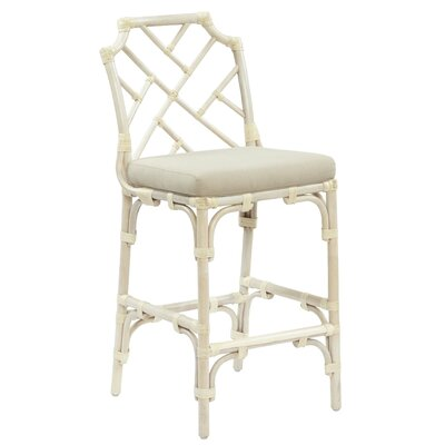 New Classics Chippendale 28 Counter Height Stool with Cushion Finish: Linen