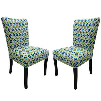Katzer Parsons Chair Upholstery: Lime Green / Blue
